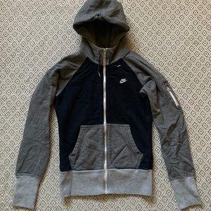 NIKE - zip up hooded sweatshirt black and gray